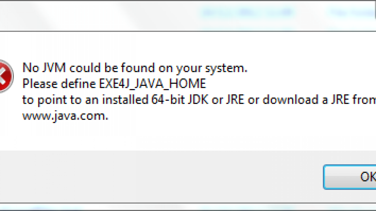EXE4J_JAVA_HOME, No JVM could be found on your system