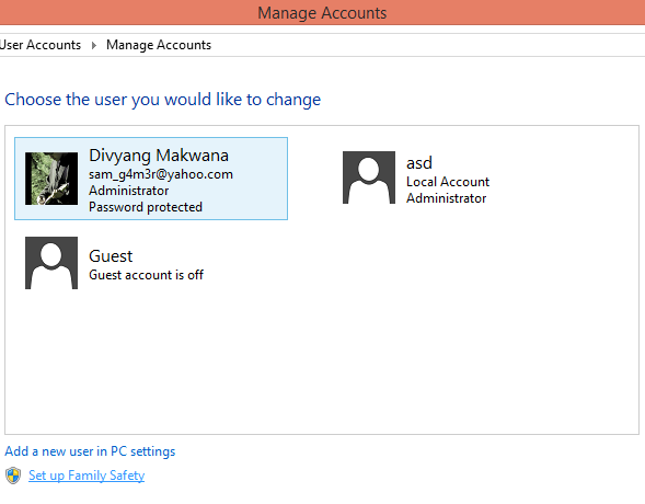 How to delete User Accounts on Windows 8 PC