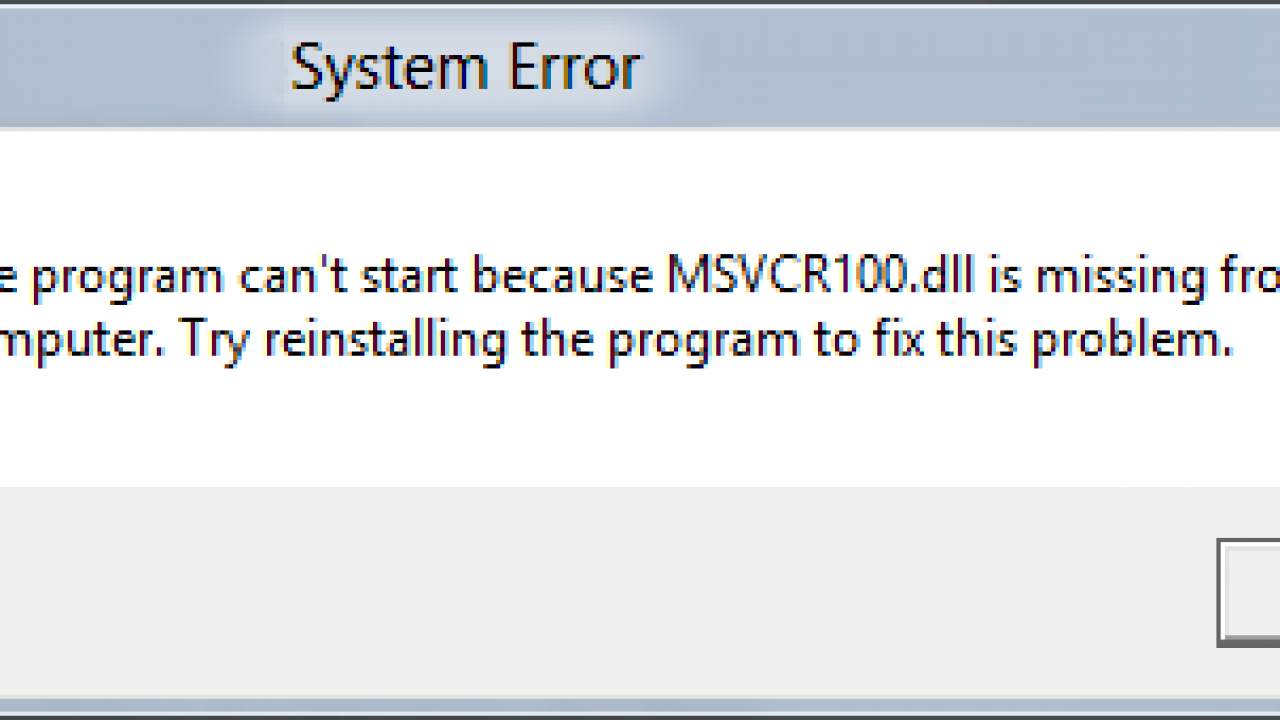 msvcr100.dll missing windows 10 download